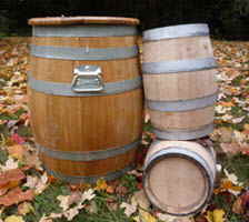 Canadian oak wine barrels rain barrels small barrels and kegs